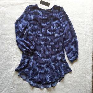 BCBGMAXAZRIA Pacific Blue Cloud Shift Dress Mini